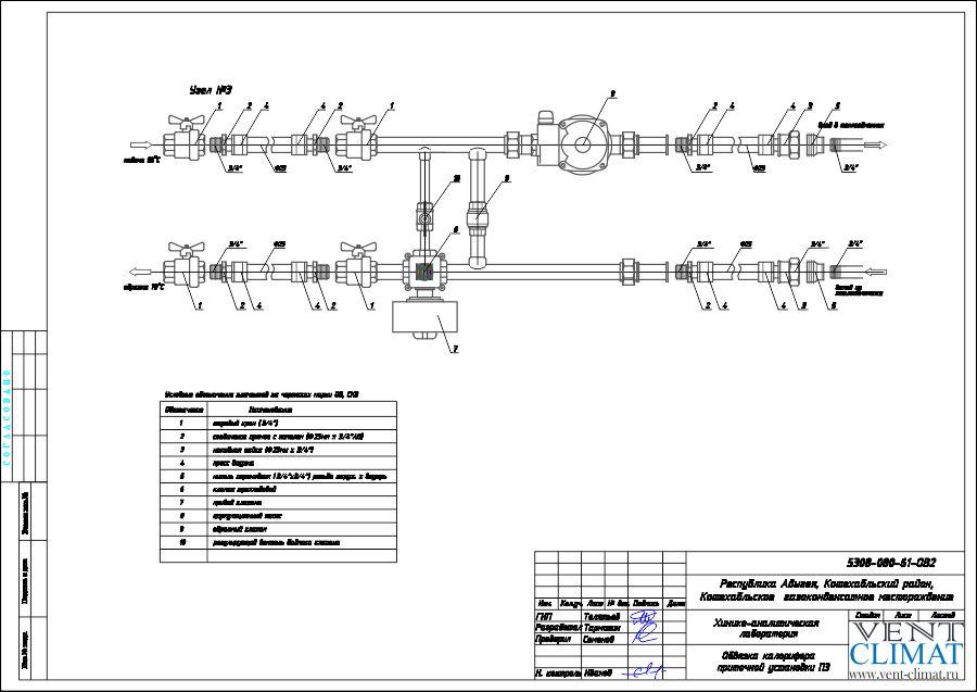 узел обвязки нагревателя воздуха для приточной системы П3.