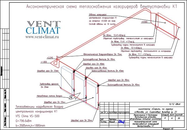 аксонометрия обвязки калорифера.