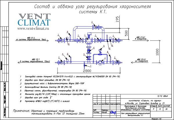 Схема обвязки охладителя приточной установки